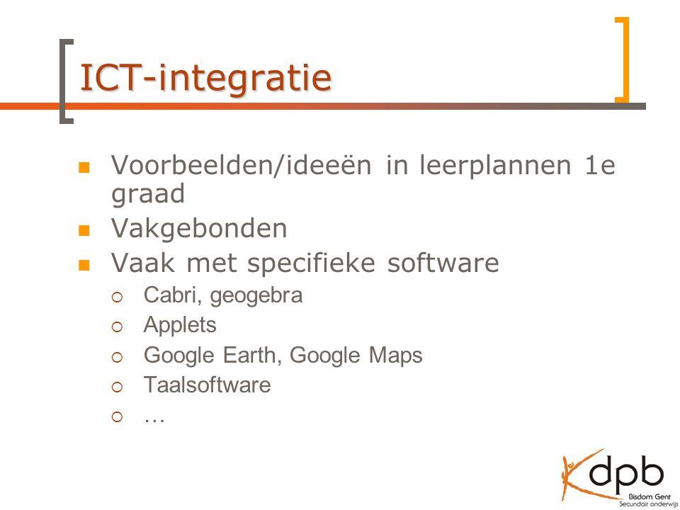ICT-integratie Voorbeelden/ideeën in leerplannen 1e graad Vakgebonden