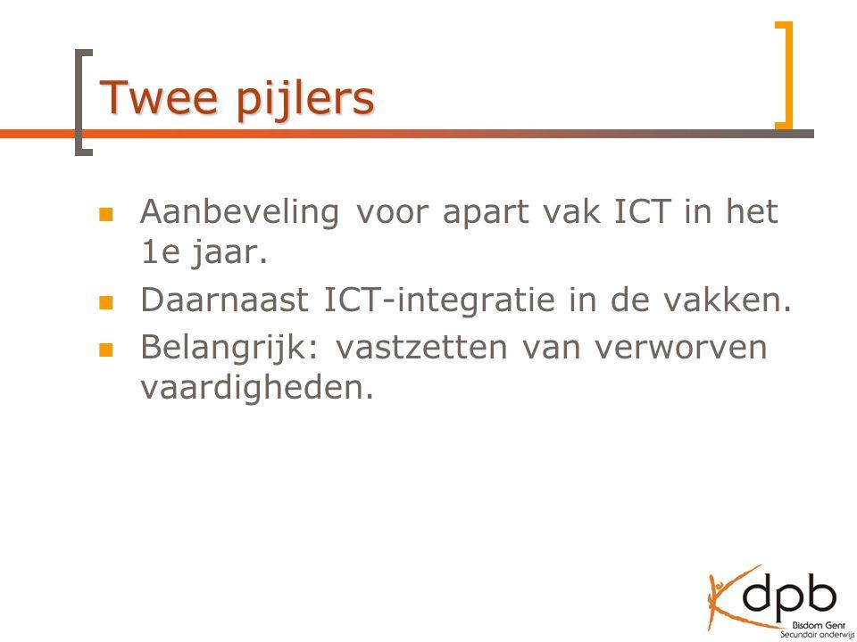 Twee pijlers Aanbeveling voor apart vak ICT in het 1e jaar.