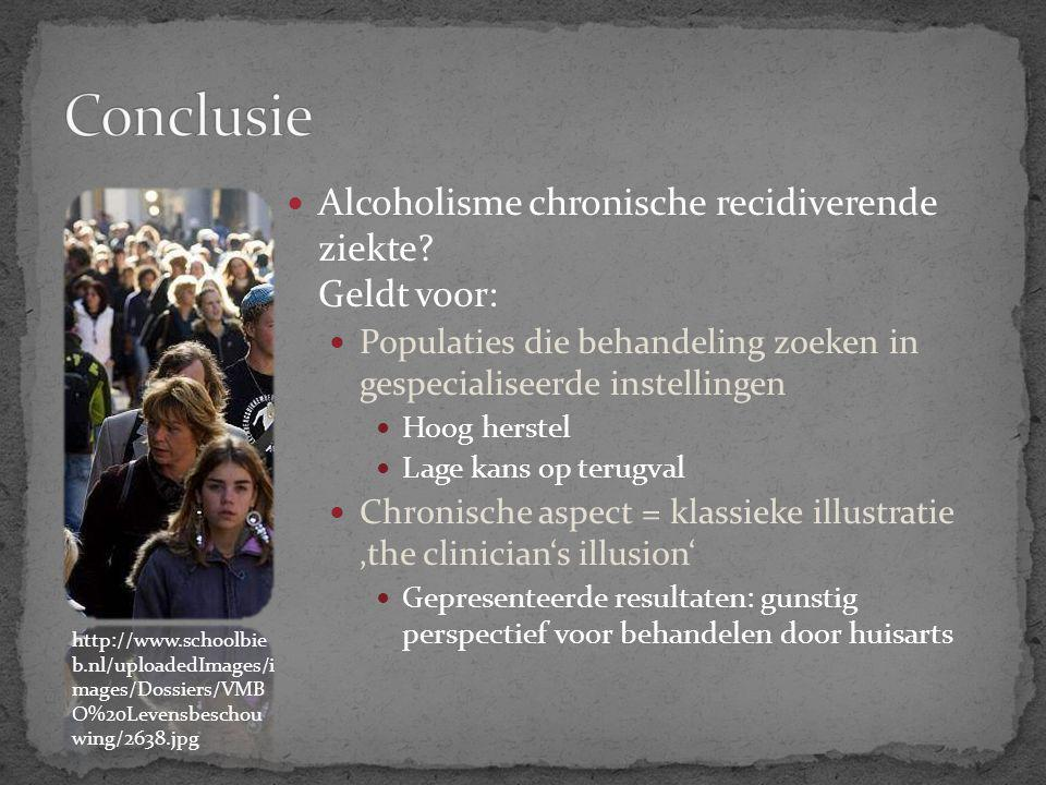 Conclusie Alcoholisme chronische recidiverende ziekte Geldt voor:
