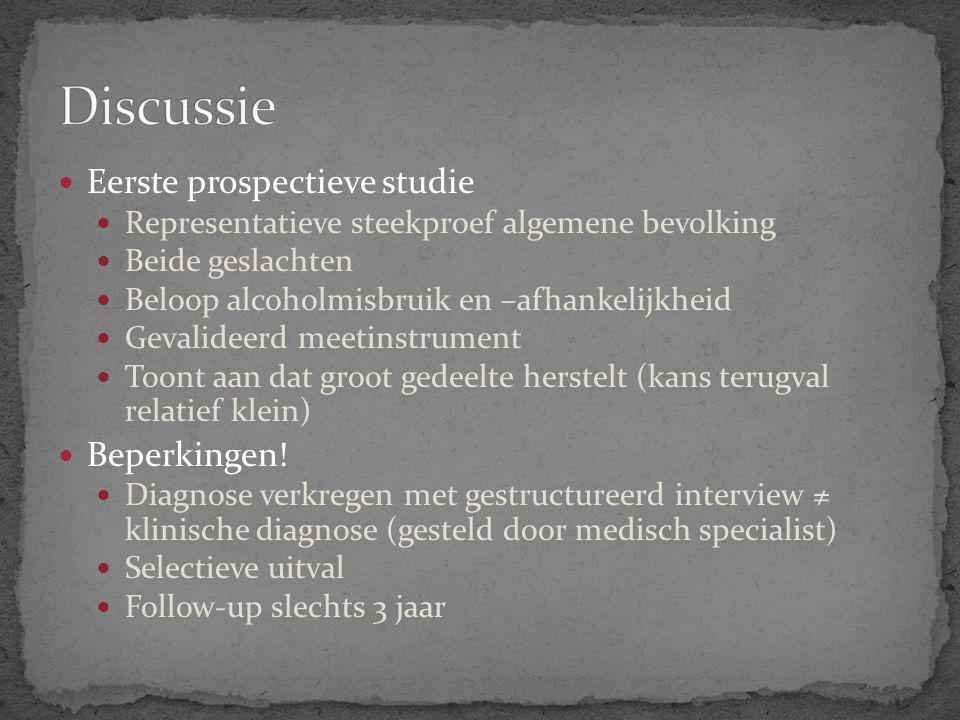 Discussie Eerste prospectieve studie Beperkingen!