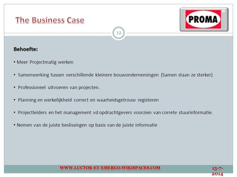 The Business Case Behoefte: Meer Projectmatig werken