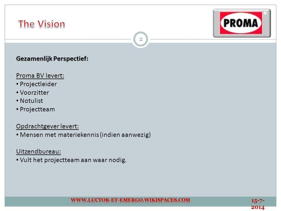 The Vision Gezamenlijk Perspectief: Proma BV levert: Projectleider