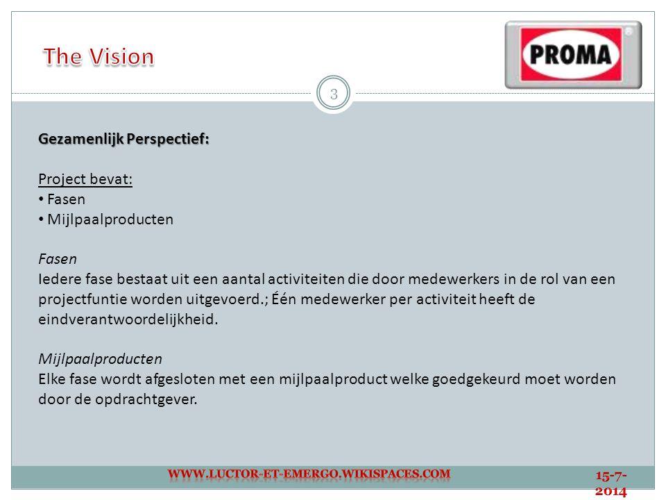 The Vision Gezamenlijk Perspectief: Project bevat: Fasen