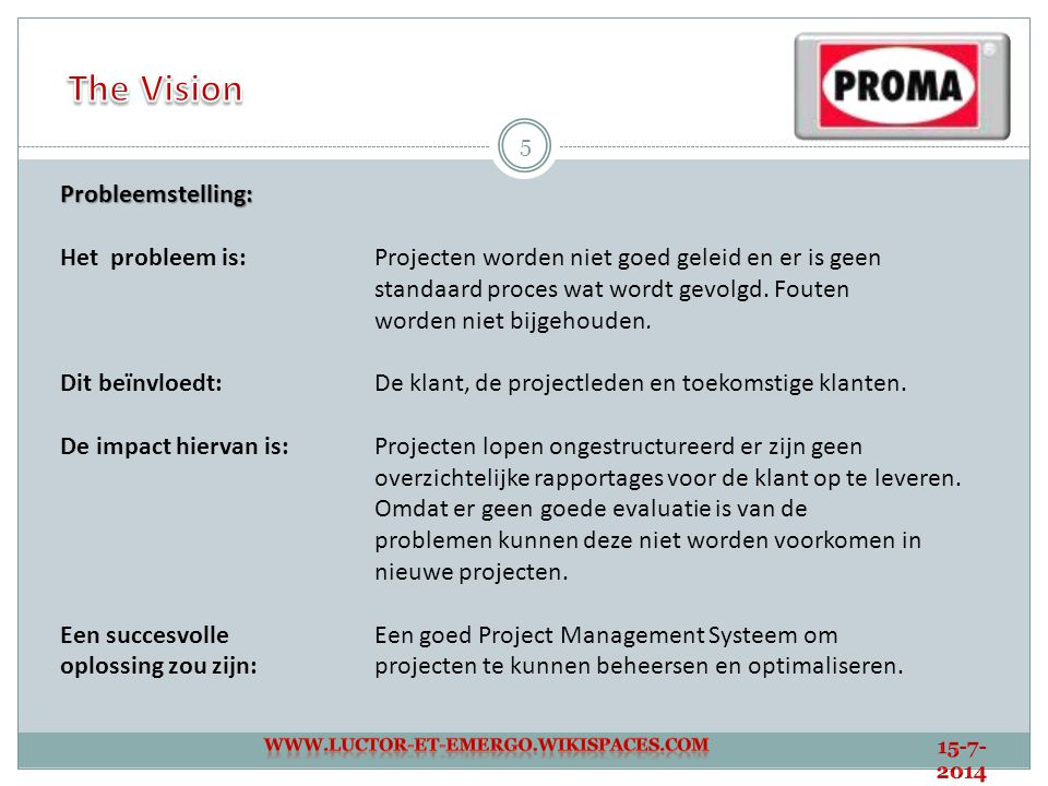 The Vision Probleemstelling: