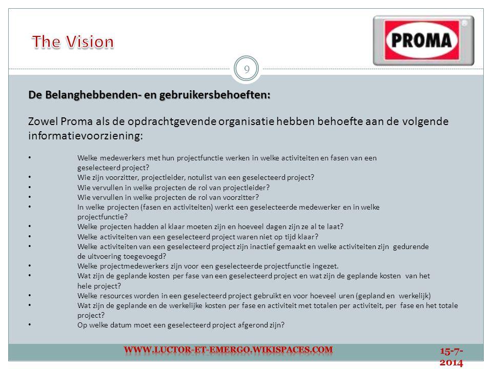The Vision De Belanghebbenden- en gebruikersbehoeften: