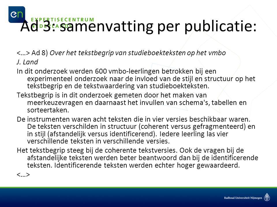 Ad 3: samenvatting per publicatie: