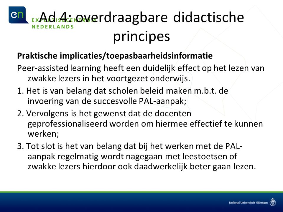 Ad 4: overdraagbare didactische principes