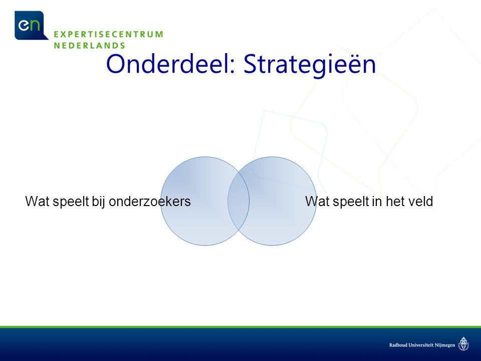 Onderdeel: Strategieën