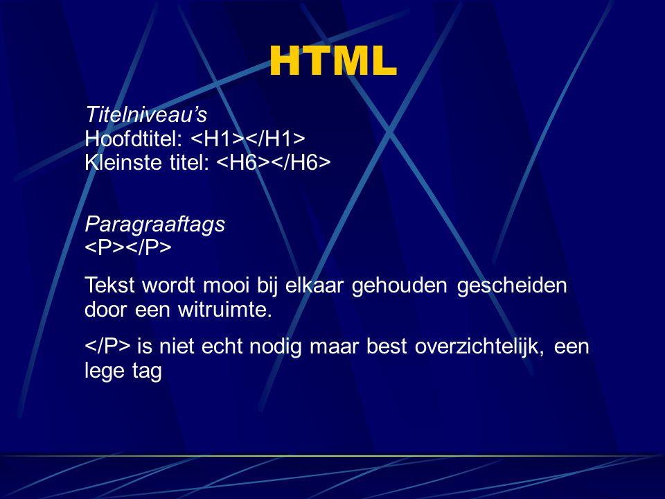 HTML Titelniveau's Hoofdtitel: <H1></H1> Kleinste titel: <H6></H6> Paragraaftags <P></P>