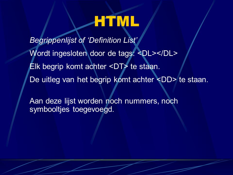 HTML Begrippenlijst of 'Definition List'