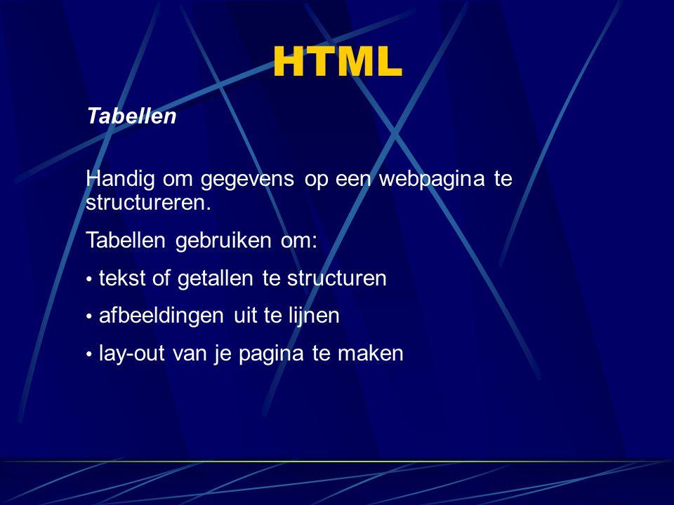 HTML Tabellen Handig om gegevens op een webpagina te structureren.