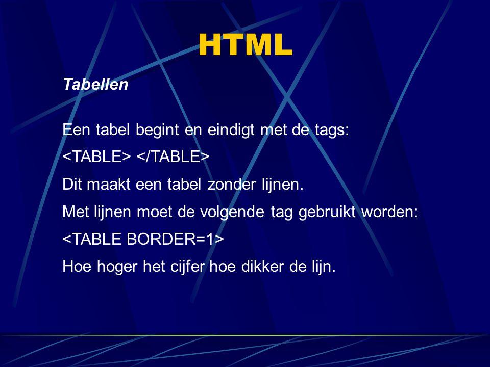HTML Tabellen Een tabel begint en eindigt met de tags:
