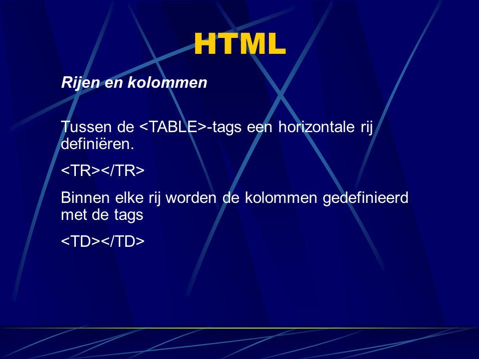HTML Rijen en kolommen. Tussen de <TABLE>-tags een horizontale rij definiëren. <TR></TR>