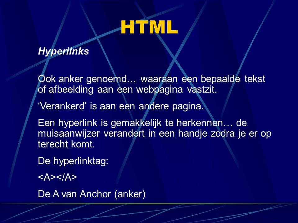 HTML Hyperlinks. Ook anker genoemd… waaraan een bepaalde tekst of afbeelding aan een webpagina vastzit.