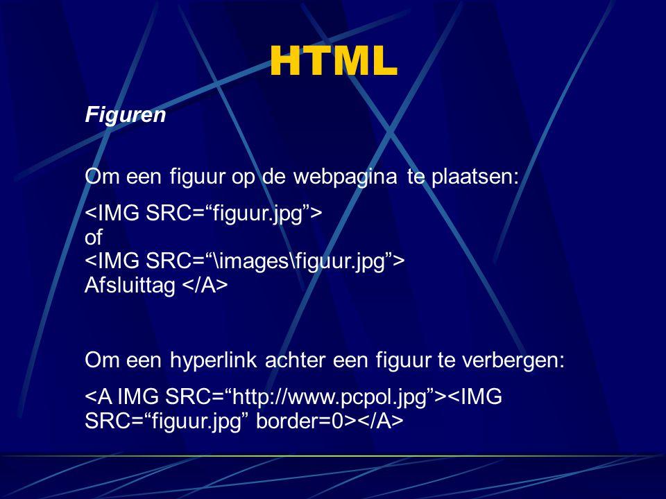 HTML Figuren Om een figuur op de webpagina te plaatsen: