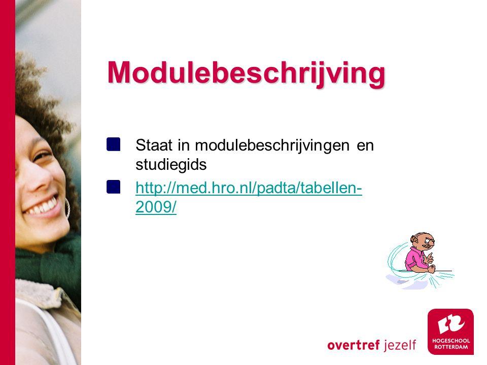 Modulebeschrijving Staat in modulebeschrijvingen en studiegids