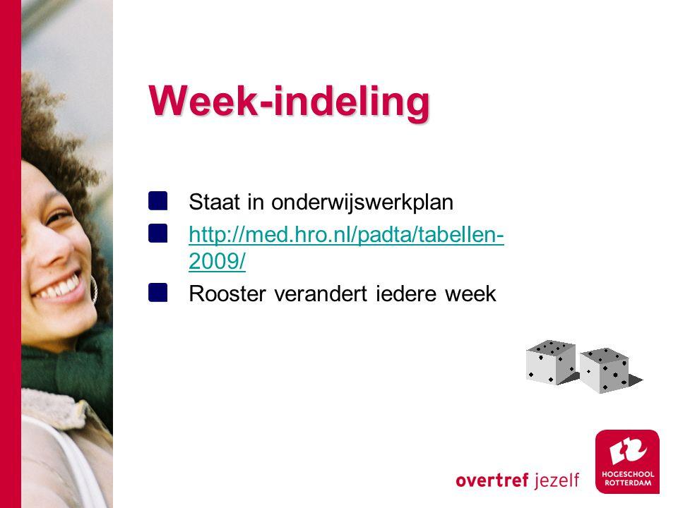 Week-indeling Staat in onderwijswerkplan