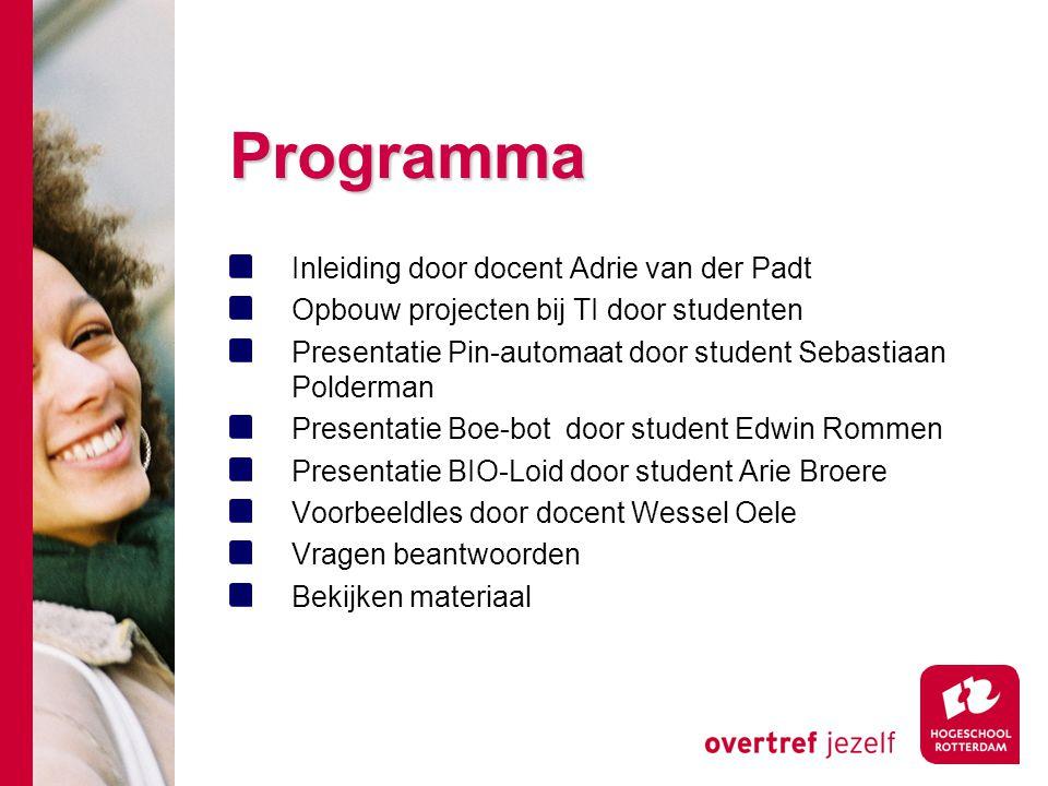 Programma Inleiding door docent Adrie van der Padt
