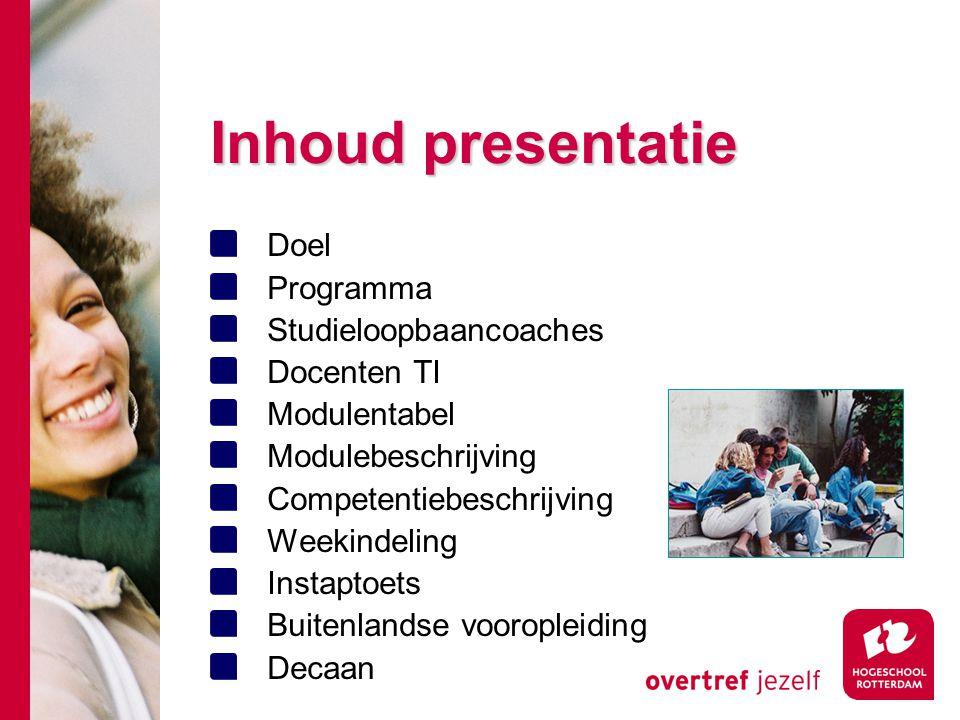 Inhoud presentatie Doel Programma Studieloopbaancoaches Docenten TI