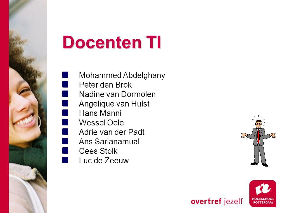 Docenten TI Mohammed Abdelghany Peter den Brok Nadine van Dormolen