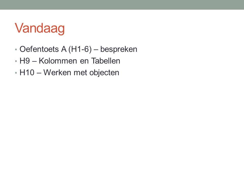 Vandaag Oefentoets A (H1-6) – bespreken H9 – Kolommen en Tabellen