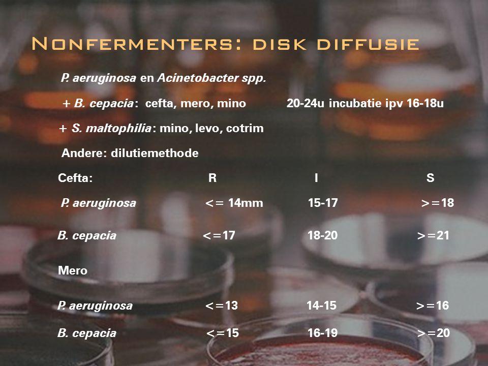 Nonfermenters: disk diffusie