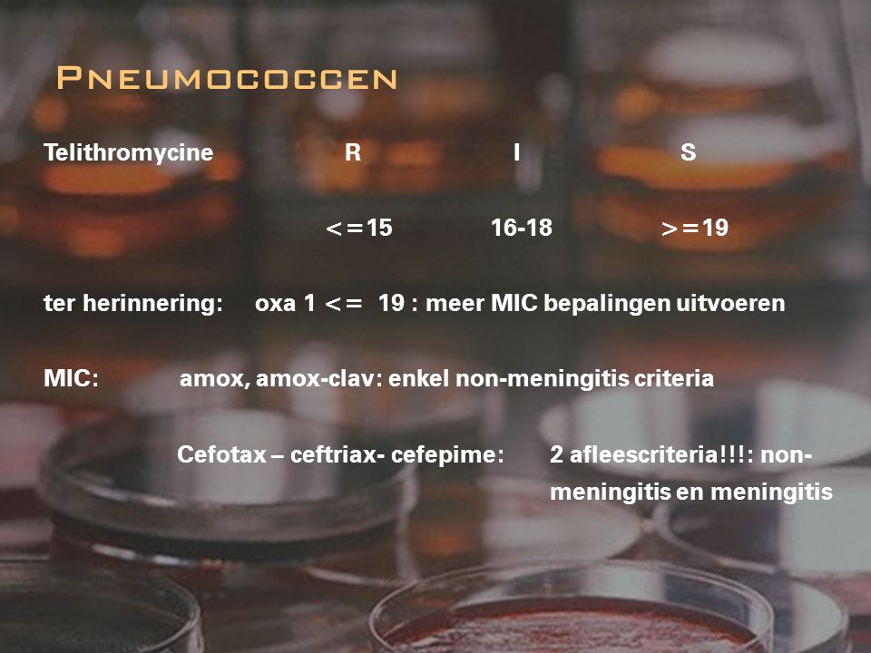 Pneumococcen Telithromycine R I S <=15 16-18 >=19