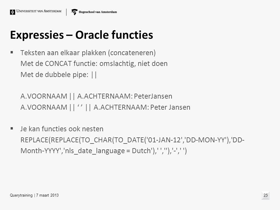 Expressies – Oracle functies