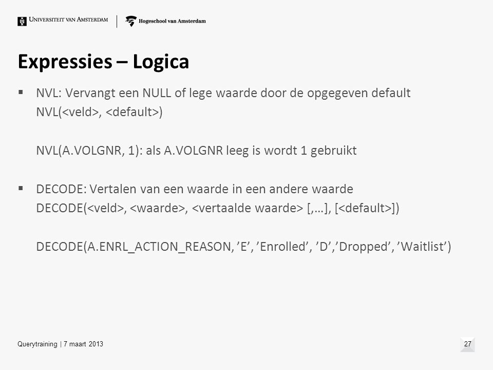 Expressies – Logica