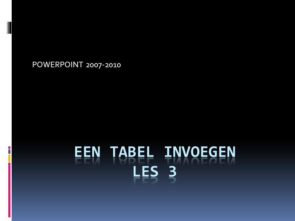 POWERPOINT 2007-2010 Een tabel invoegen Les 3