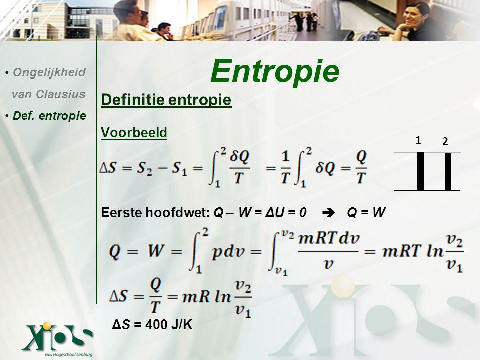 Entropie Definitie entropie Voorbeeld