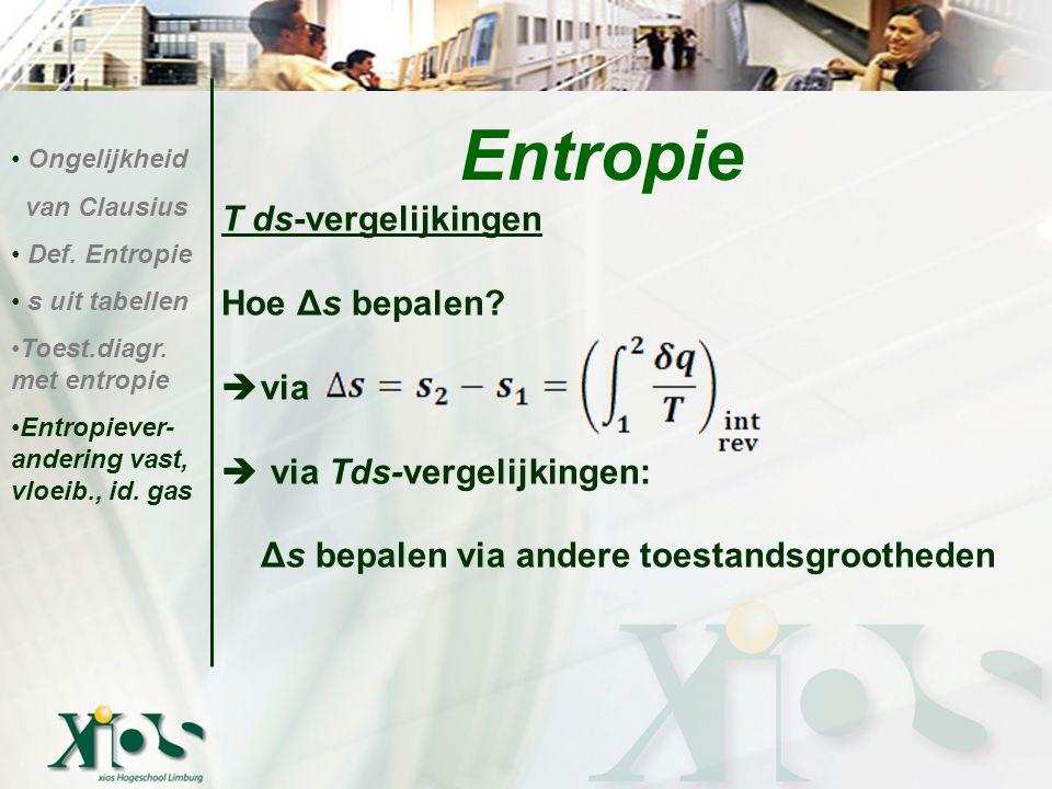 Entropie T ds-vergelijkingen Hoe Δs bepalen via