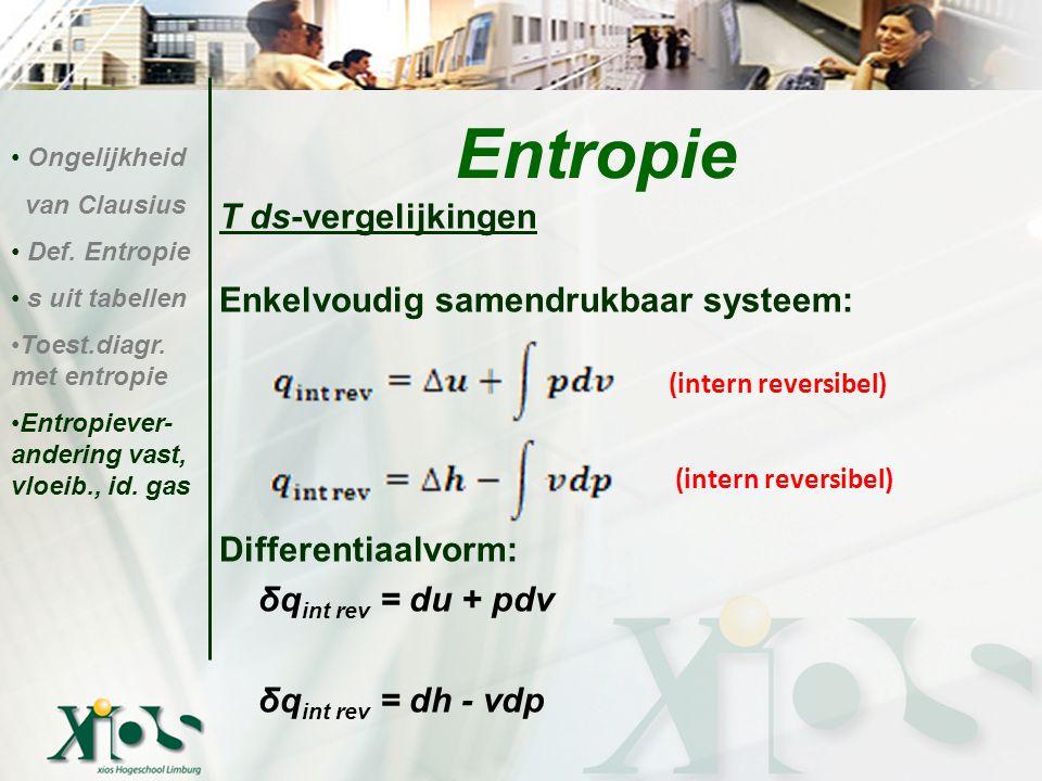 Entropie T ds-vergelijkingen Enkelvoudig samendrukbaar systeem: