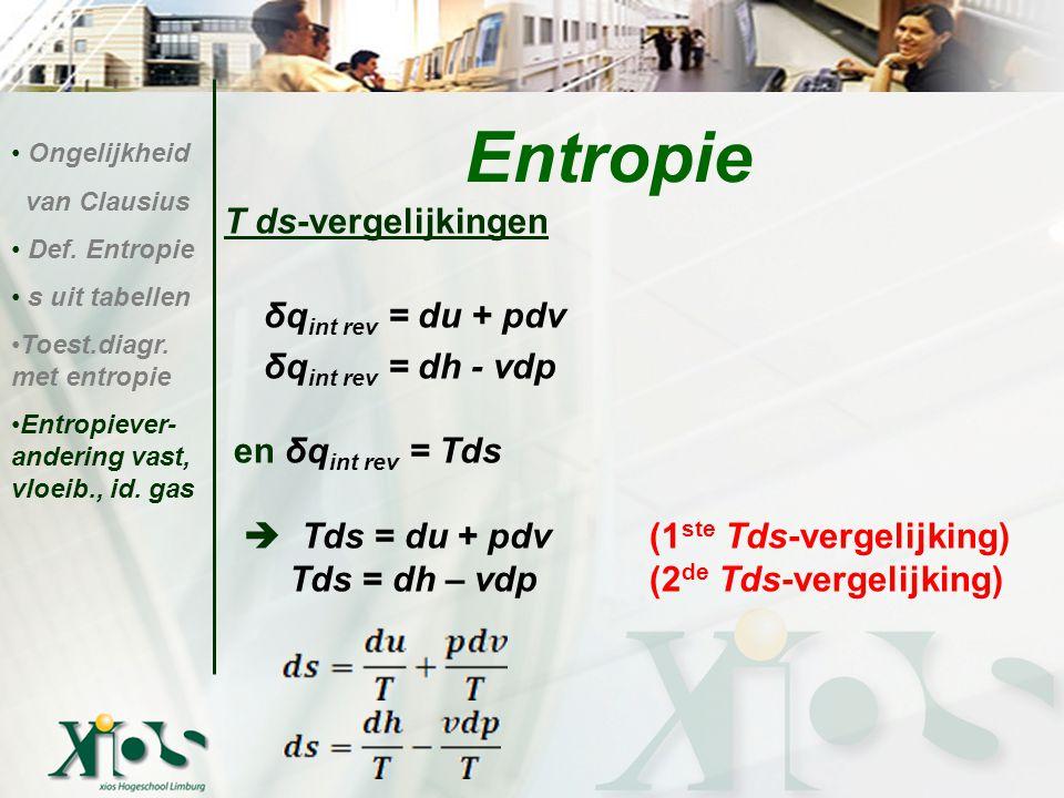 Entropie T ds-vergelijkingen δqint rev = du + pdv δqint rev = dh - vdp