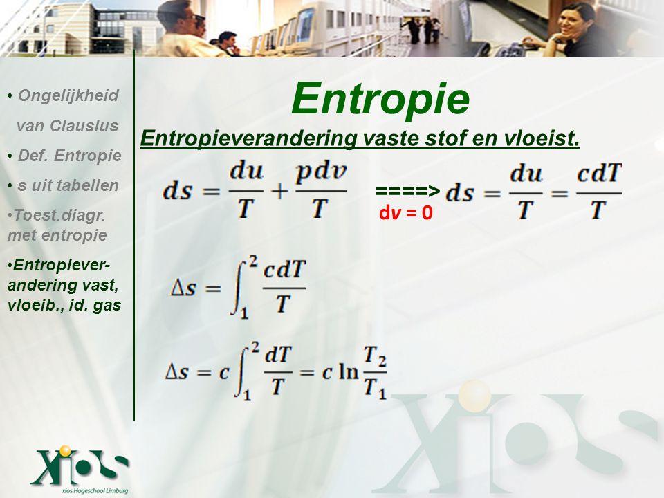 Entropie Entropieverandering vaste stof en vloeist. ====> dv = 0