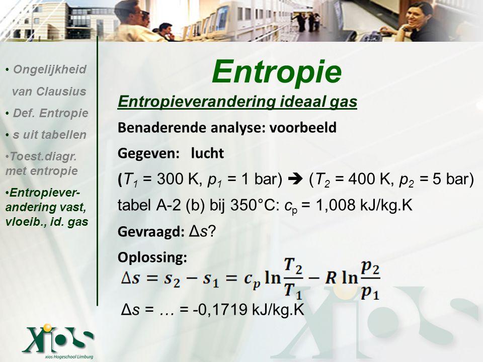 Entropie Entropieverandering ideaal gas Entropieverandering ideaal gas