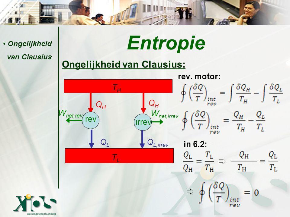 Entropie Ongelijkheid van Clausius: rev. motor: TH QH in 6.2: QH