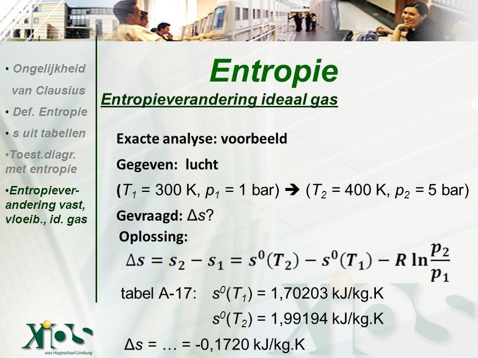 Entropie Entropieverandering ideaal gas Exacte analyse: voorbeeld