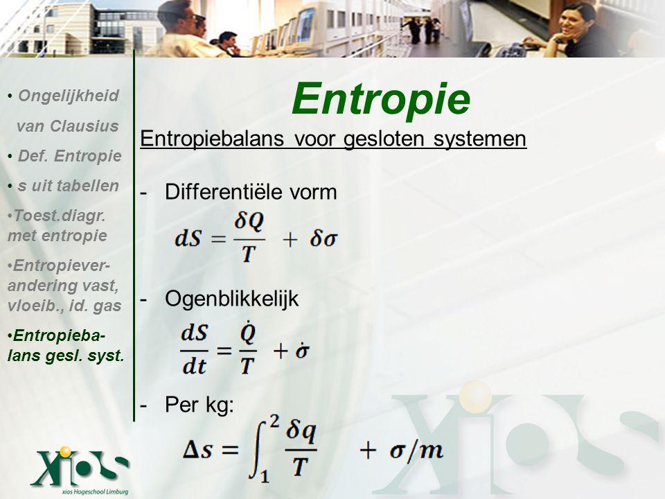Entropie Entropiebalans voor gesloten systemen Differentiële vorm