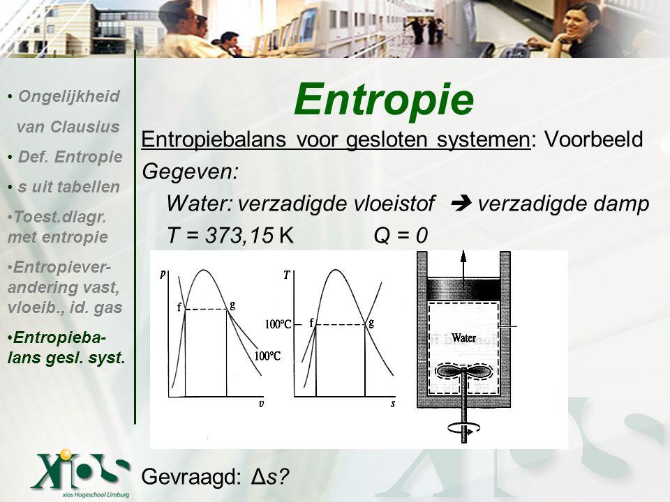 Entropie Entropiebalans voor gesloten systemen: Voorbeeld Gegeven: