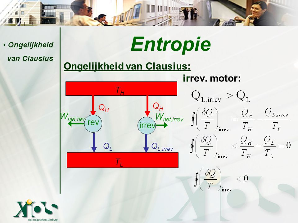 Entropie Ongelijkheid van Clausius: irrev. motor: TH QH QH Wnet,rev