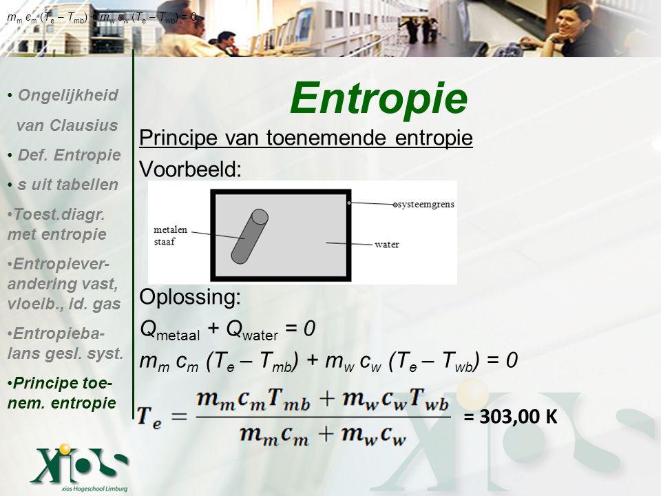 Entropie Principe van toenemende entropie Voorbeeld: Oplossing: