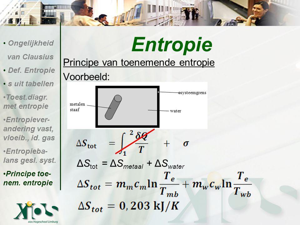 Entropie Principe van toenemende entropie Voorbeeld:
