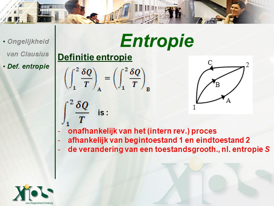 Entropie Definitie entropie is :