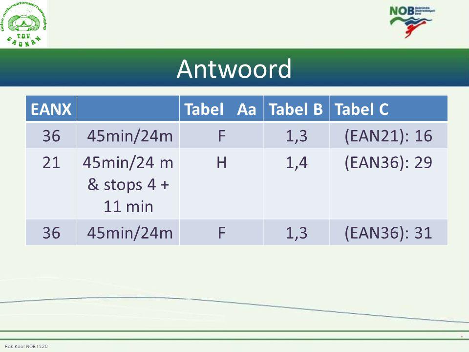 Antwoord EANX Tabel Aa Tabel B Tabel C 36 45min/24m F 1,3 (EAN21): 16