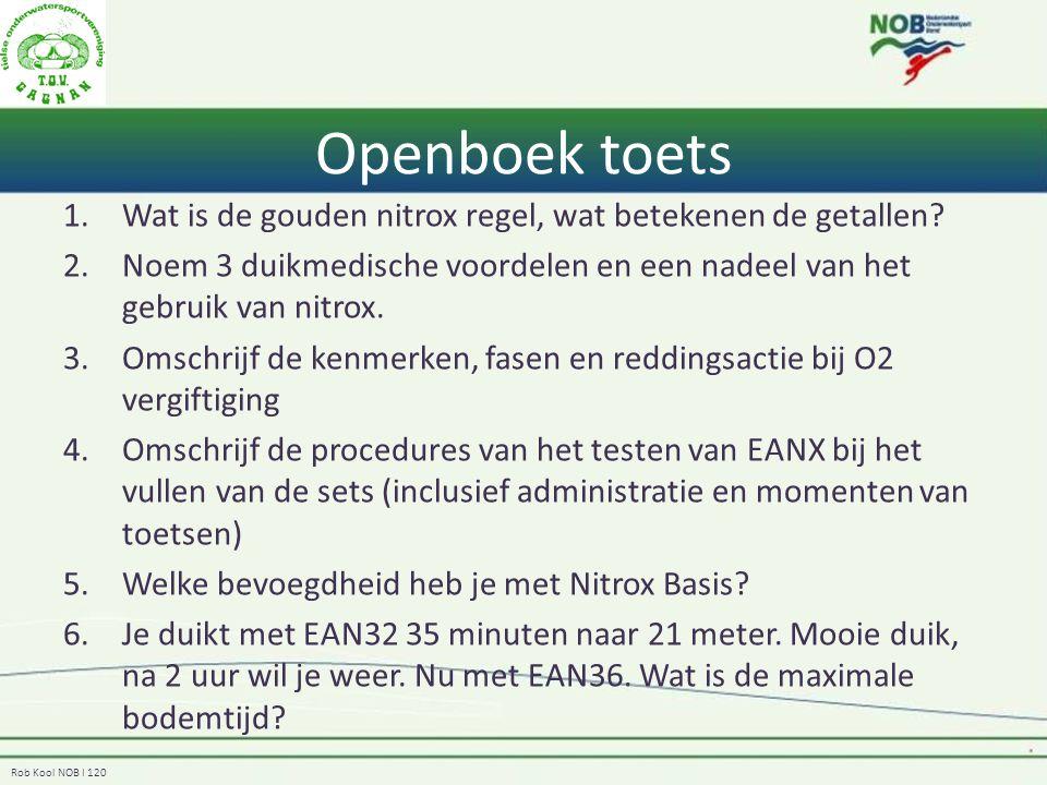 Openboek toets Wat is de gouden nitrox regel, wat betekenen de getallen Noem 3 duikmedische voordelen en een nadeel van het gebruik van nitrox.