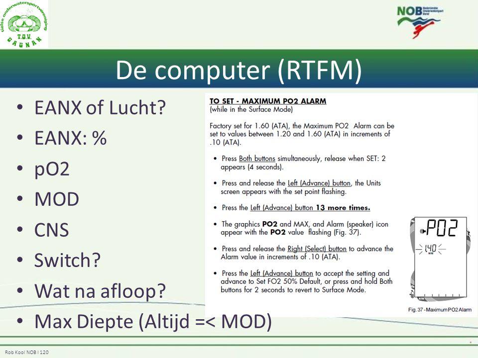 De computer (RTFM) EANX of Lucht EANX: % pO2 MOD CNS Switch