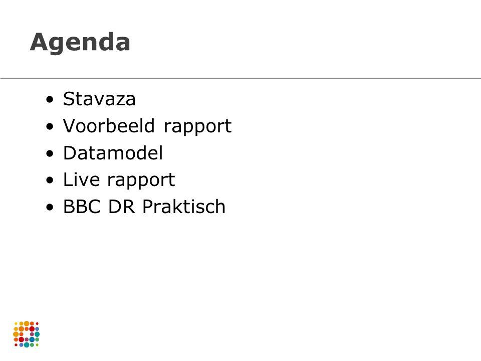Agenda Stavaza Voorbeeld rapport Datamodel Live rapport