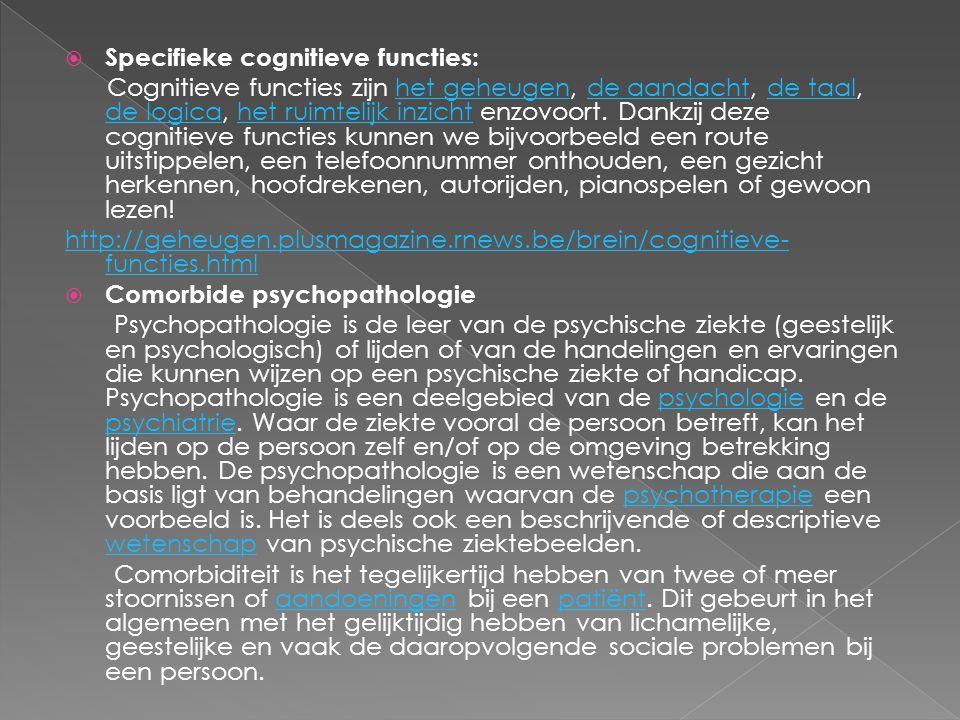 Specifieke cognitieve functies: