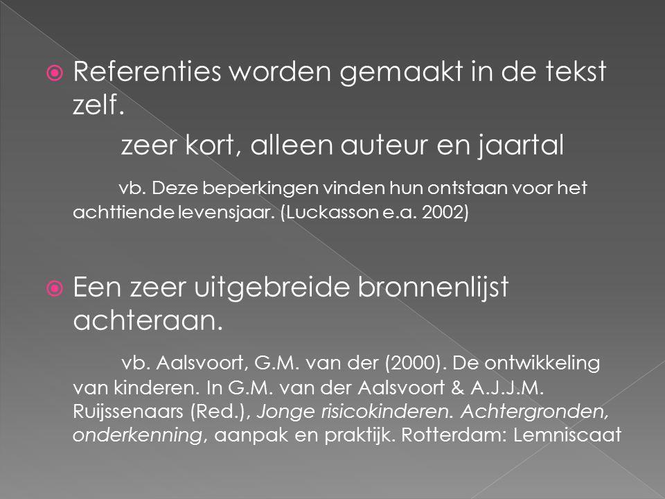 Referenties worden gemaakt in de tekst zelf.
